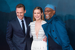 Leicester Square, London, February 28th 2017. Celebrities, VIPs and cast members of Kong: Skull Island, a Warner Brothers release, gather on the red carpet ahead of the film's European Premiere in London. The film stars Tom Hiddleston, Brie Larson, Samuel L Jackson, Tom C Reilly, Toby Kebbel and is directed by Jordan Vogt-Roberts. PICTURED:Tom Hiddleston, Brie Larson, Samuel L Jackson