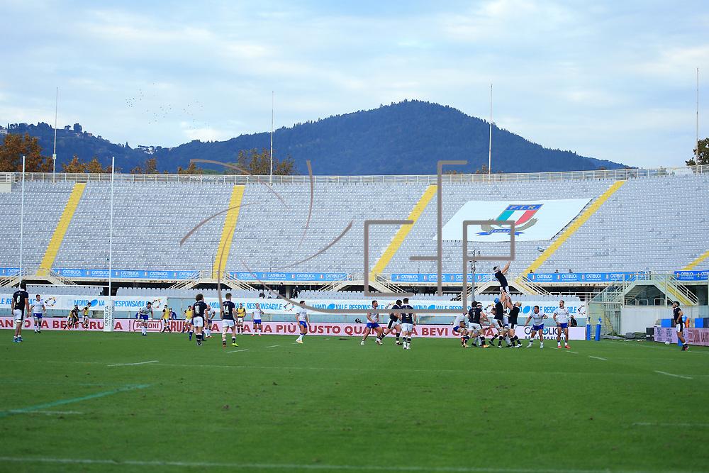 Firenze 14/11/2020, Stadio Artemio Franchi <br /> Autumn Nations Cup 2020<br /> Italia vs Scozia<br /> <br /> una touch nello stadio vuoto