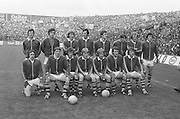 The Kerry team before the All Ireland Senior Gaelic Football Final, Kerry v Dublin in Croke Park on the 28th September 1975. Kerry 2-12 Dublin 0-11.<br />