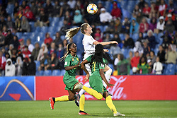 6?10???????????????????????????????????????????????.Janine Beckie (C) of Canada vies with Claudine Meffometou (L) and Aurelle Awona (R) of Cameroon during..???????????????2019?6?11?.?????????——E??????????????.?????????????2019??????????E???????????1?0??????.?????????..(SP)FRANCE-RENNES-2019 FIFA WOMEN'S WORLD CUP-GROUP E-CANADA VS CAMEROON..(190611) -- MONTPELLIER, June 11, 2019  the group E match between Canada and Cameroon at the 2019 FIFA Women's World Cup in Montpellier, France on June 10, 2019. Canada won 1-0. (Credit Image: © Xinhua via ZUMA Wire)