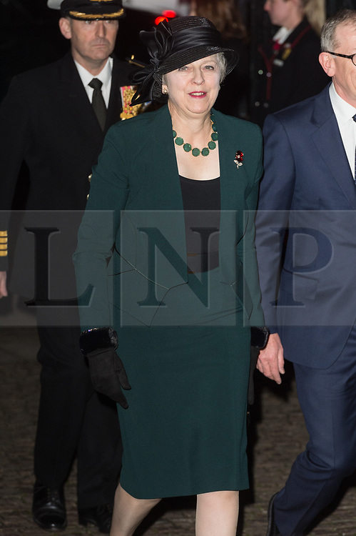 © Licensed to London News Pictures. 11/11/2018. London, UK. British Prime Minister Theresa May attends a Westminster Abbey Service to mark the Centenary of the Armistice ending World War I. Photo credit: Ray Tang/LNP