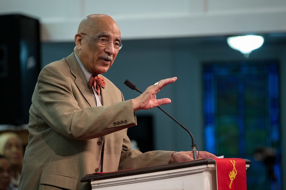 Dr. Jerome Harris, former Atlanta Public Schools superintendent, speaks during a rally at First Iconium Baptist Church in Atlanta on Tuesday, April 7, 2015, to ask for leniency in the sentencing of 11 APS educators found guilty of cheating. Sentencing will take place Monday. Photo by Kevin Liles for The New York Times