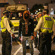 Police searched, video recorded and let go one-by-one a group of kettled protestors who refused to go home after the organisers called-off the demonstration in central London on Thursday, June 4, 2020. (Photo/ Vudi Xhymshiti)