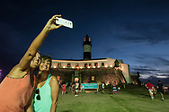 Selfie with a lighthouse to celebrate a meeting between old friends