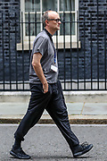 Prime Minister Boris Johnson's key adviser Dominic Cummings, who has suggested the NHS could provide funding to allow people to select genetic traits such as intelligence for babies, is seen wandering around Ten Downing Street in London ahead of the weekly session of PMQs on Wednesday, July 1, 2020. (Photo/Vudi Xhymshiti)
