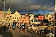 Historic buildings evening light, Vagen harbour, Bergen, Norway