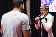 LAS VEGAS, NV - JULY 8:  Claudia Gadelha warms up in the locker room before The Ultimate Fighter Finale at MGM Grand Garden Arena on July 8, 2016 in Las Vegas, Nevada. (Photo by Cooper Neill/Zuffa LLC/Zuffa LLC via Getty Images) *** Local Caption *** Claudia Gadelha