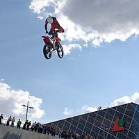 Peter Hujber from Hungary performs during a freestyle motocross show organized by KTM in front of Arena Plaza, Budapest, Hungary. Thursday, 08. May 2008. ATTILA VOLGYI