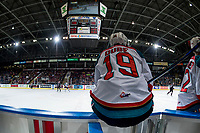KELOWNA, CANADA - FEBRUARY 14: Dillon Dube #19 of the Kelowna Rockets sits on the boards at the bench awaiting shift change against the Red Deer Rebels  on February 14, 2018 at Prospera Place in Kelowna, British Columbia, Canada.  (Photo by Marissa Baecker/Shoot the Breeze)  *** Local Caption ***