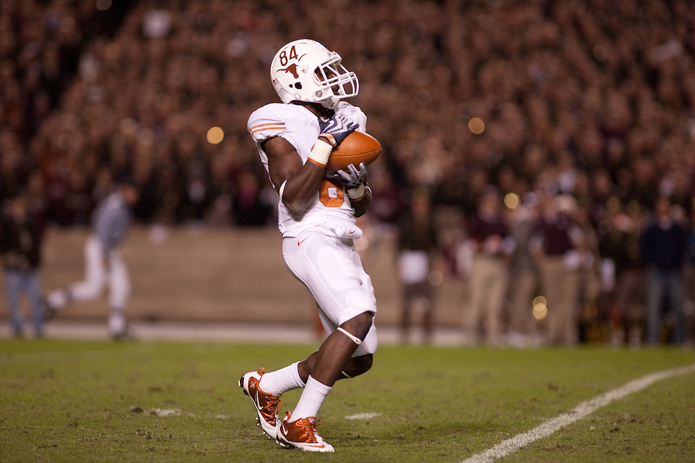 Marquise Goodwin #84 WR. Texas Longhorns at Texas A&M Aggies. Photographed at Kyle Field in College Station, Texas on Thursday, November 26 2009. Photograph © 2009 Darren Carroll