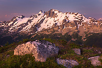 Dawn over Mount Matier (left 2783 m -9131 ft) and Joffre Peak (2721 m -8927 ft) seen from ridge of Mount Rohr British Columbia Canada beauty in nature