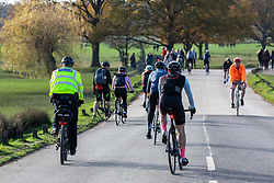 © Licensed to London News Pictures. 22/11/2020. London, UK. A police officer patrols Richmond Park as cyclists and walkers exercise while enjoying the warm autumnal sunshine in South West London. The Prime Minister is expected to address the Nation tomorrow to set out his plans for Christmas and the end of lockdown 2.0 on the 2nd of December 2020 with the opening up of shops, pubs and restaurants. However it is believed he will also introduce a new tougher three-tiered system with further localised restriction. Photo credit: Alex Lentati/LNP