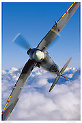 Spitfire in acrobatic flight, aerial