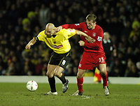 Fotball<br /> England 2004/2005<br /> Foto: SBI/Digitalsport<br /> NORWAY ONLY<br /> <br /> Watford v Southampton<br /> Carling Cup Semi Final. 25/01/2005.<br /> <br /> Gavin Mahon is challenged by Igor Biscan
