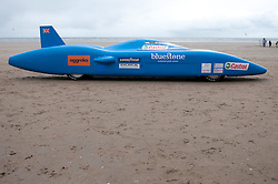 © licensed to London News Pictures  13/08/2011 . Pendine,UK. Don Wales, Grandson of Malcolm Campbell and his son Joe Wales prepare to  attempt to break the UK Electric Land Speed in their Bluebird Electric Car at Pendine Sands in Carmarthenshire. The record was set at 137mph in 2000.  The team hopes to bid for the world  Electric speed record in 2013. The ultimate ambition being the World Land Speed Record for a wheel-driven vehicle. Photo credit :Aled Llywelyn/LNP