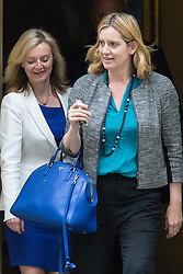Downing Street, London, June 2nd 2015. Amber Rudd, Secretary of State for Energy and Climate Change, right, followed by Elizabeth Truss, Secretary of State for Environment, Food and Rural Affairs, leaves 10 Downing Street following the weekly meeting of the Cabinet.