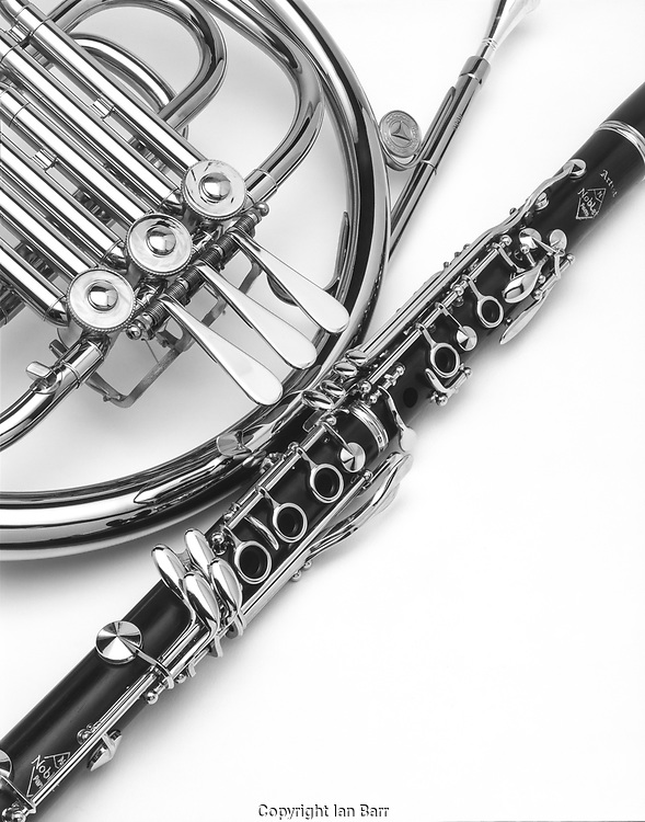 clarinet and french horn shot on a white background in black And White.