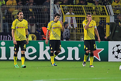 13.09.2011, Signal Iduna Park, Dortmund, GER, UEFA CL, Gruppe F, Borussia Dortmund (GER) vs Arsenal London (ENG), im Bild.Neven Subotic (Dortmund #4), Mats Hummels (Dortmund #15) und Sebastian Kehl (Dortmund #5) entaeuscht / entäuscht / traurig nach dem 0:1..// during the UEFA CL, group F, Borussia Dortmund (GER) vs Arsenal London on 2011/09/13, at Signal Iduna Park, Dortmund, Germany. EXPA Pictures © 2011, PhotoCredit: EXPA/ nph/  Mueller       ****** out of GER / CRO  / BEL ******