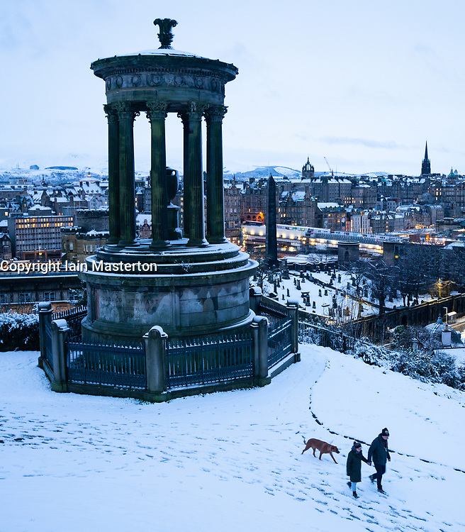 Edinburgh, Scotland, UK. 21 January 2020. Storm Christoph brought overnight snow to Edinburgh. Pic; View from a snow covered Calton hill is one of the world's most iconic. Iain Masterton/Alamy Live News