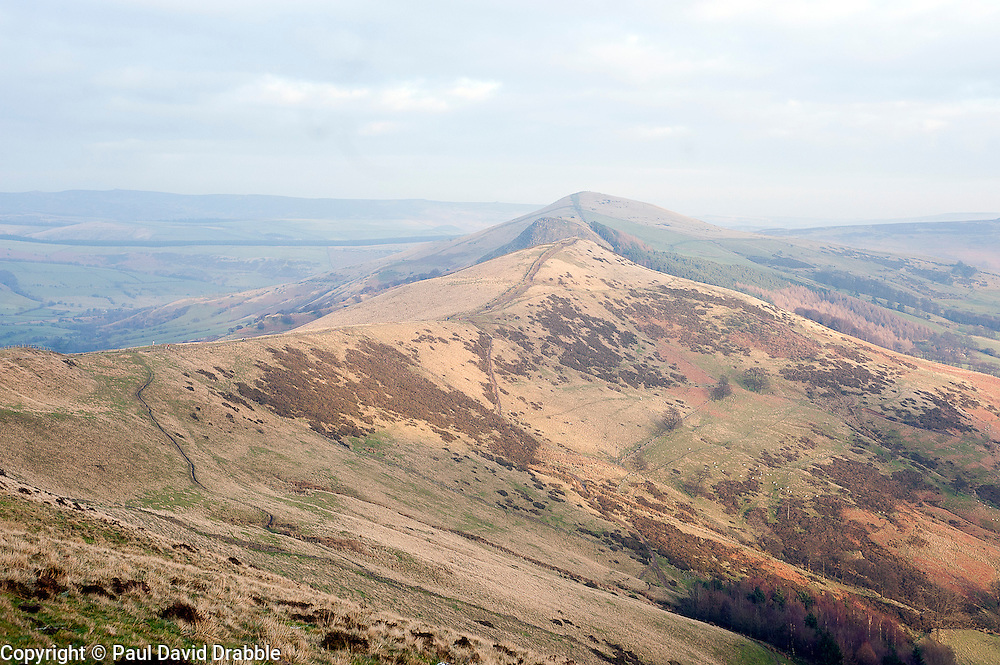 View looking North East from the top of Mam Tor which is also known as Mother Hill or shivering Mountain near Castleton in the High Peak of Derbyshire, England..www.pauldaviddrabble.co.uk.15 January 2012.Image © Paul David Drabble
