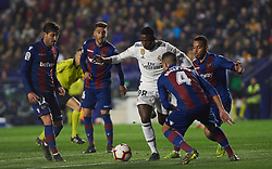 February 24, 2019 - Valencia, Valencia, Spain - Rober Pier, Ruben Vezo of Levante UD and Vinicius Junior of Real Madrid during the La Liga match between Levante and Real Madrid at Estadio Ciutat de Valencia on February 24, 2019 in Valencia, Spain. (Credit Image: © Maria Jose Segovia/NurPhoto via ZUMA Press)