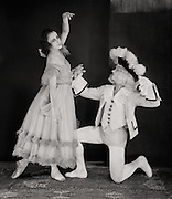 Nicolas Zverev as Florindo and Lubov Tchernicheva as Prudenza in 'Pulcinella', London, England, 1920