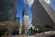 Sears Tower now known as the Willis Tower from Van Buren Street in Chicago, IL.