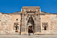 The Buruciye Medrese (Madrasah) built in 1271 by Dr. Muzaffer Burucerdî of Iran as a school teach physics, chemistry and astronomy. Its magnificent crown gate is one of the best examples of Seljuk architecture in Anatolia. The islamic Muqarnas corbelled vault is made up of a large number of miniature squinches, producing a sort of cellular structure. Sivas, Turkey .<br /> <br /> If you prefer to buy from our ALAMY PHOTO LIBRARY  Collection visit : https://www.alamy.com/portfolio/paul-williams-funkystock/sivas-turkey.html<br /> <br /> Visit our TURKEY PHOTO COLLECTIONS for more photos to download or buy as wall art prints https://funkystock.photoshelter.com/gallery-collection/3f-Pictures-of-Turkey-Turkey-Photos-Images-Fotos/C0000U.hJWkZxAbg