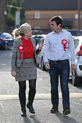 © Licensed to London News Pictures. 20/10/2016. Birstall, UK. Labour's candidate for the Batley and Spen by-election Tracy Brabin out campaigning with Andy Burnham MP for Leigh and Holly Lynch Mp for Halifax in Heckmondwike, West Yorkshire, as the polls open for voters. The by-election was triggered after the tragic murder of Labour MP Jo Cox in the town of Birstall. Labour candidate Tracy Brabin is expected to win the seat uncontested by the Conservatives and Liberal Democrats. Photo credit : Ian Hinchliffe/LNP