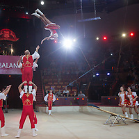 Artists of the Team Teibler of Hungary perform in the new show titled Balance in Circus Budapest in Budapest, Hungary on October 04, 2015. ATTILA VOLGYI