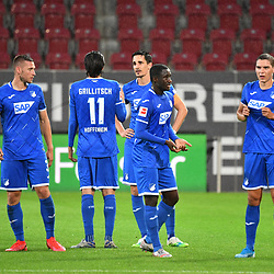 v.l. Pavel KADERABEK (1899), Grilitsch, Benjamin HUEBNER (H?bner, 1899), Diadie SAMASSEKOU (1899), Robert SKOV (1899)<br /> <br /> <br /> Sport: Fussball: 1. Bundesliga: Saison 19/20: 32. Spieltag, 17.06.2020.<br /> FC Augsburg (A) - TSG 1899 Hoffenheim (1899) <br /> Foto: Frank Hoermann/FOTOAGENTUR SVEN SIMON/POOL/PIX-Sportfotos<br /> <br /> Nur fuer journalistische Zwecke! <br /> Only for editorial use!<br /> <br /> DFL regulations prohibit any use of photographs as image sequences and/or quasi-video.<br /> National and International News Agencies OUT<br /> NO RESALE!