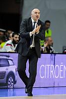 Real Madrid´s coach Pablo Laso during 2014-15 Euroleague Basketball match between Real Madrid and Zalgiris Kaunas at Palacio de los Deportes stadium in Madrid, Spain. April 10, 2015. (ALTERPHOTOS/Luis Fernandez)