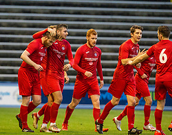 Brora Rangers Dale Gillespie celebrates after scoring their goal. Morton 1 v 1 Brora Rangers, 3rd Round of the Scottish Cup played 23/11/2019 at Cappielow, Greenock.