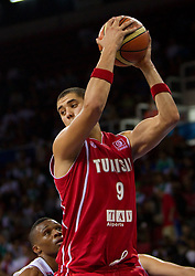 Mohamed Hadidane of Tunisia during  the Preliminary Round - Group B basketball match between National teams of USA and Tunisia at 2010 FIBA World Championships on September 2, 2010 at Abdi Ipekci Arena in Istanbul, Turkey. (Photo By Vid Ponikvar / Sportida.com)
