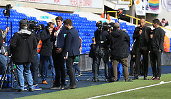 TV crews line up pitch side for pre match analysis for the game between Tottenham Hotspur and AFC Bournemouth