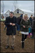 MARK HIX; ELIZABETH MURDOCH, The Heythrop Hunt Point to Point. Cockle barrow. 25 January 2015