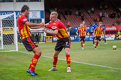 31JUL21 Partick Thistle's Scott Tiffoney cele scoring their third goal. Partick Thistle 3 v 2 Queen of the South. First Scottish Championship game of the season.