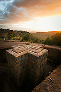 St George's Church, Lalibela at sunset; one of Ethiopia's holiest cities, second only to Aksum, and is a centre of pilgrimage for much of the country