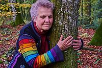 France, Saone et Loire (71), Morvan, Autun, Lucienne Haese, militante écolo préside le Groupement Forestier pour la Sauvegarde des Feuillus du Morvan  // France, Burgundy, Nievre, Autun, Morvan park, Lucienne Haese