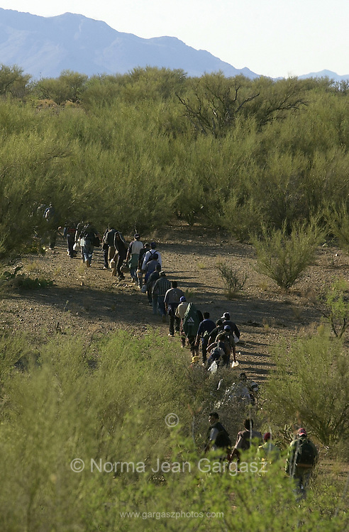 A group of 42 undocumented migrants, who crossed from Mexico on to the Tohono O'odham Nation moves through the desert about 18 miles north of the border southeast of Sells, Arizona, USA.  The group walks in temperatures exceeding 100 degrees on a trail along the Baboquivari corridor, the deadliest crossing point along the border.  Brown water in some water jugs indicates that some of the group ran out of water and have filled their jugs from depleted cattle ponds.