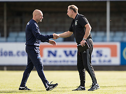 RHYL, WALES - Saturday, September 2, 2017: Wales' Manager Paul Bodin shakes hands with Iceland's Manager Porvaldur Orlygsson during an Under-19 international friendly match between Wales and Iceland at Belle Vue. (Pic by Gavin Trafford/Propaganda)