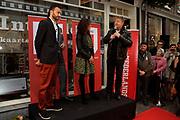 NFF - Onthulling Gouden Tegel op de Talent & Pro Filmboulevard.<br /> <br /> Op de foto:  Regisseuse van Black Butterflies Paula van der Oest, die de honeurs voor Gouden Kalf 2011 winnares Carice van Houten waarneemt, en winnaar van het Gouden Kalf voor Beste Acteur 2011 voor Nasrdin Dchar