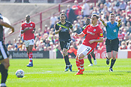 Mike-Steven Bahre of Barnsley (21) passes the ball during the EFL Sky Bet League 1 match between Barnsley and Shrewsbury Town at Oakwell, Barnsley, England on 19 April 2019.