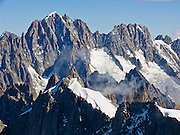 Aiguille Verte and Les Droites, Chamonix, the Alps, France, Europe. See the Needles of Chamonix (Aiguilles du Chamonix) and Mont Blanc massif from spectacular Aiguille du Midi station (12,600 feet) on the téléphérique (cable car, aerial tramway, or Seilbahn) from Chamonix (3300 feet elevation), France, the Alps, Europe.