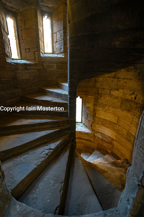 View of Staircase inside Linlithgow Palace in Linlithgow, West Lothian, Scotland, UK. Birthplace of Mary Queen of Scots.