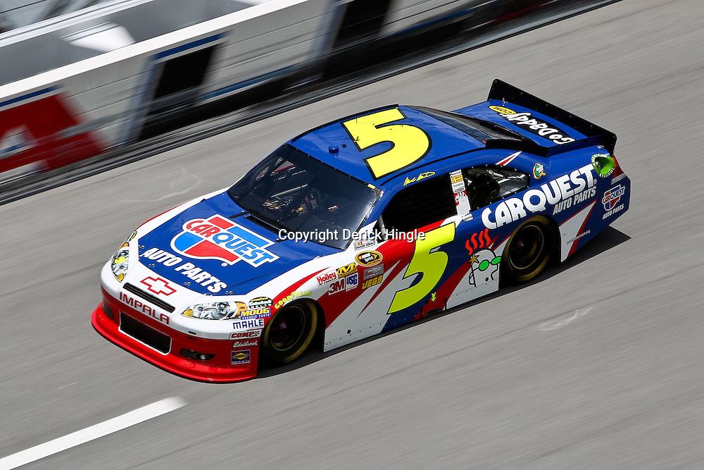 April 16, 2011; Talladega, AL, USA; NASCAR Sprint Cup Series driver Mark Martin (5) during qualifying for the Aarons 499 at Talladega Superspeedway.   Mandatory Credit: Derick E. Hingle
