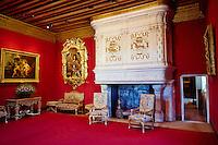France, Indre et Loire (37), Château de Chenonceau, édifié de 1513 à 1521, de style Renaissance, au bord du Cher, le salon Louis XIV // France, Indre-et-Loire,  Chenonceau Castle and the Cher river, Louis 14 room