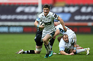 George Horne of Glasgow Warriors makes a break.  Guinness Pro14 rugby match, Ospreys v Glasgow Warriors Rugby at the Liberty Stadium in Swansea, South Wales on Sunday 26th November 2017. <br /> pic by Andrew Orchard, Andrew Orchard sports photography.