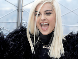 Bebe Rexha visits The Empire State Building in New York City.