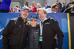 Elite runners meet and greet spectators at the finish line. Greg Meyer, Bill Rodgers, Joan Samuelson